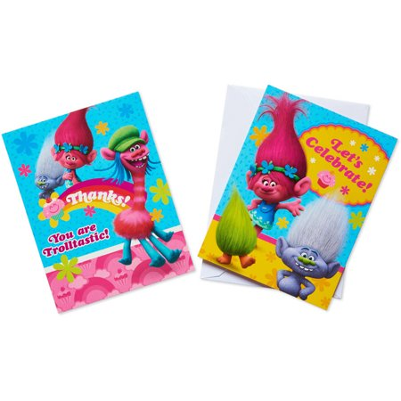 Trolls Party Invite and Thank You Combo Pack, 8ct - Tea Party Invites