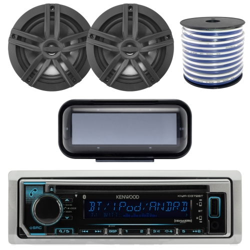 "Kenwood Bluetooth CD Radio Receiver In-Dash Marine Boat Audio Bundle With Pair Of Enrock 6.5"" Dual-Cone Stereo Speakers + Stereo Waterproof Cover + 18g 50FT Speaker Wire"