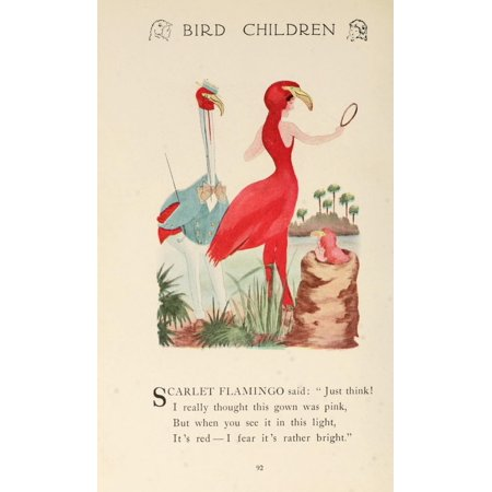 Bird Children 1912 Scarlet Flamingo Poster Print By  Mt Ross