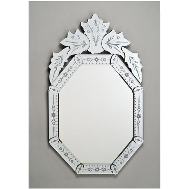 Afina Corporation RM-104 20X32 Octagonal Traditional Cut Glass and Etched Mirror