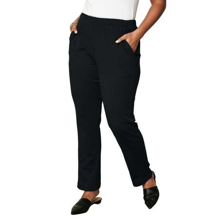 Roaman's Plus Size Soft Knit Straight-leg Pants
