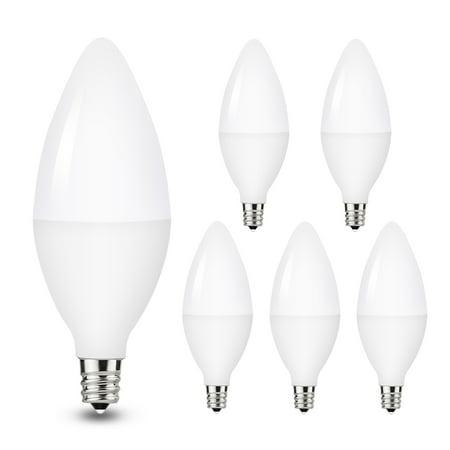 YANSUN 5W E12 Candelabra LED Light Bulbs, 40W Halogen Equivalent, Daylight White 5000K, Kitchen Light for Home Bulb, Ceiling Fan Lights, Chandelier Lighting, Pack of 5
