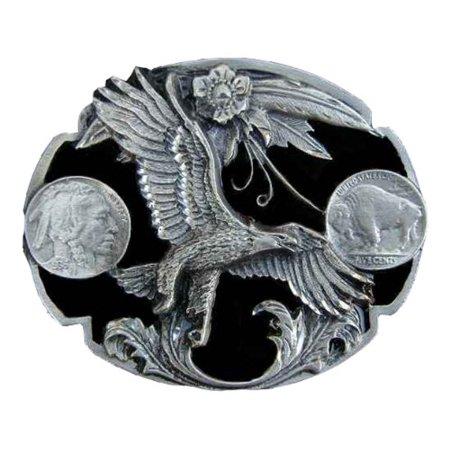 Diamond cut eagle with buffalo nickel Novelty Belt Buckle. (Nickel is not real)