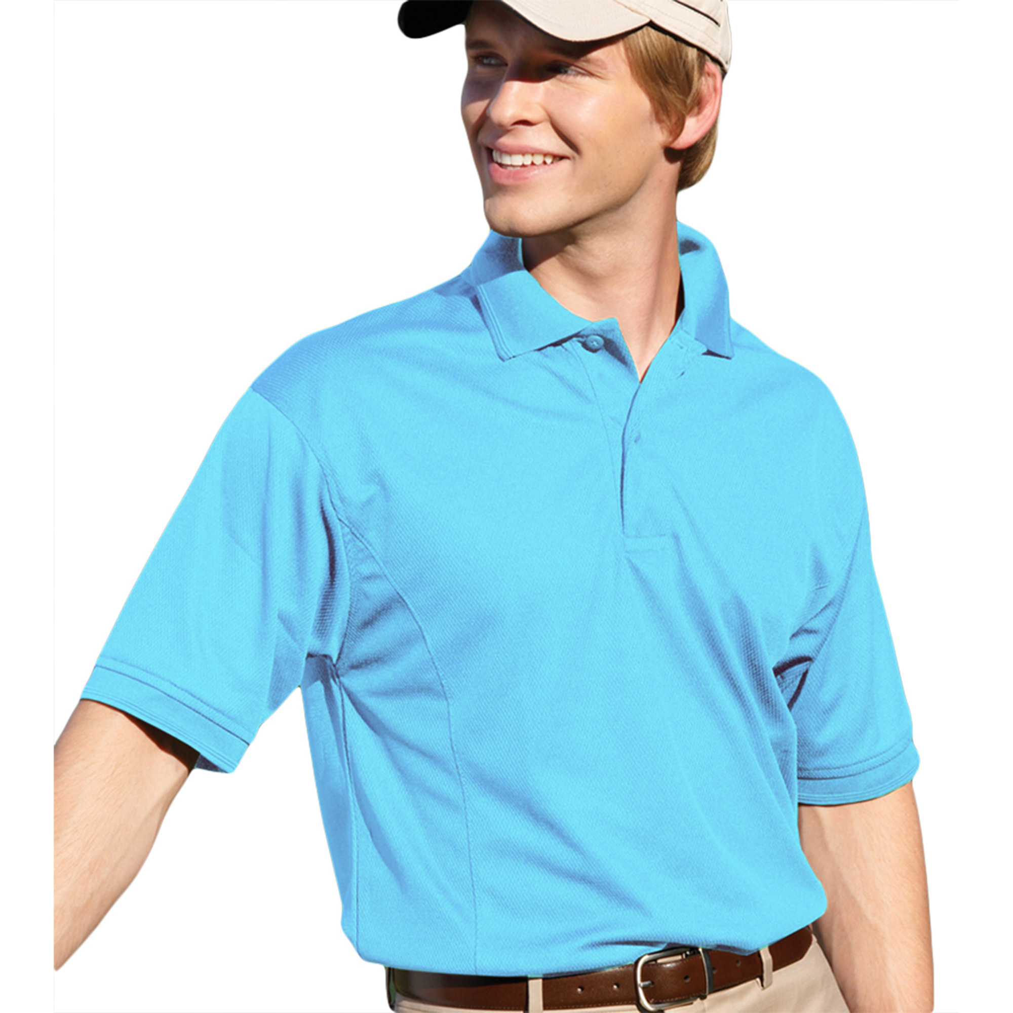 00820599180750 MENS PERFORMANCE GOLF SHIRT 2800 AQUA M