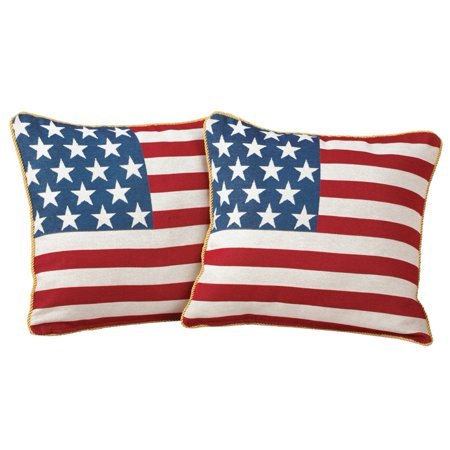 Americana, USA Flag, Decorative Throw / Accent Pillow Covers with Zippers, Set of 2, 17