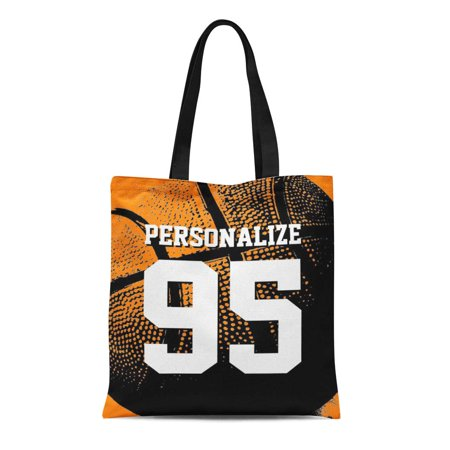 SIDONKU Canvas Tote Bag Sports Personalized Basketball Jersey Custom Team Fan Player Reusable Handbag Shoulder Grocery Shopping Bags