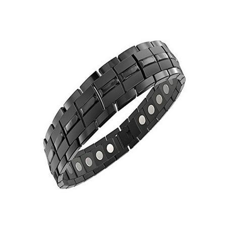 Mens Magnetic Titanium Bracelet Carbon Black for Arthritis and Carpel Tunnel, Adjuster, Gift Box (7.5) Mens Solid Titanium Bracelets