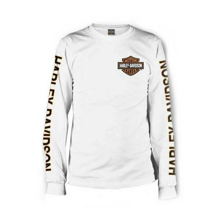 (Men's Long Sleeve Orange Bar & Shield White Shirt 30291964, Harley Davidson)