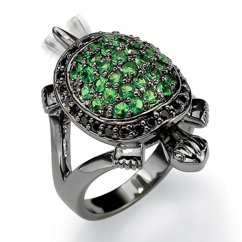 Palm Beach Jewelry Black Ruthenium Green Glass/Cubic Zirconia Turtle Ring