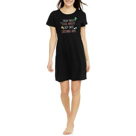 e2b15c6ad99a6e Secret Treasures - Women s and Women s Plus Pajama Short Sleeve Sleep Shirt  - Walmart.com