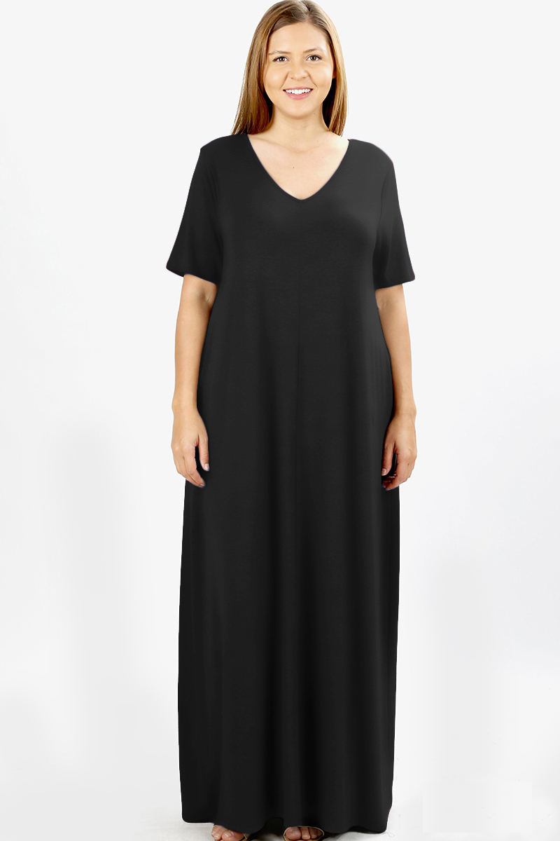 JED FASHION - JED FASHION Women\'s Plus Size V-Neck Short Sleeve Casual Maxi  Dress - Walmart.com