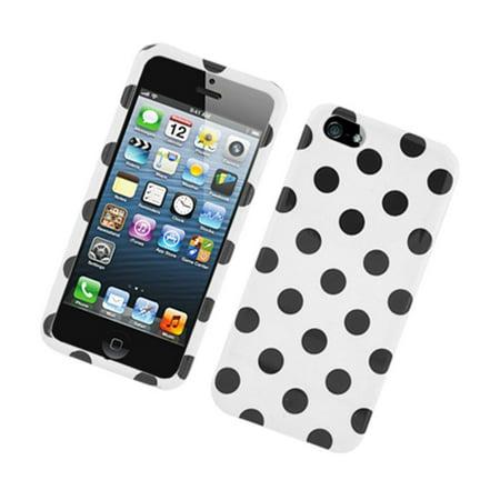 Insten Polka Dots Hard Plastic Case for iPhone 5S 5 SE (Iphone 5 Polka Dot Case)