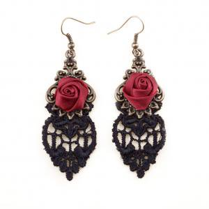 Fancyleo Fashion Jewelry Vintage Black Lace Punk Style Red Rose Flower Dangle Earrings Women Gift