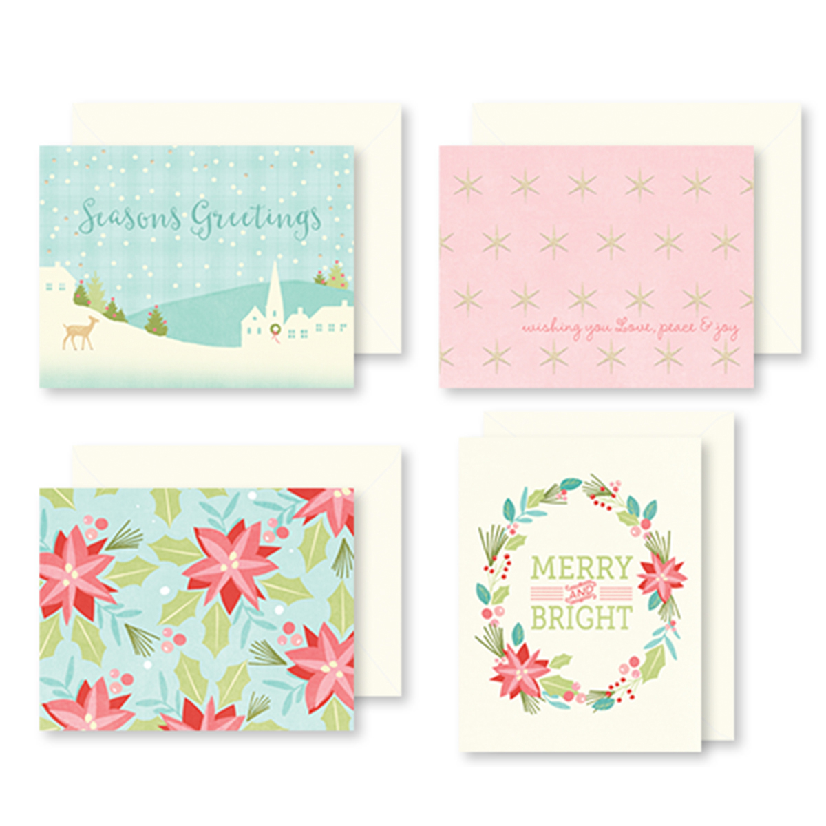 Sugar Plum Christmas Cards W/Envelopes 12/Pkg-4 Designs/3 Each