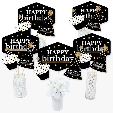 Adult Happy Birthday - Gold - Birthday Party Centerpiece Sticks - Table Toppers - Set of 15 - Birthday Centerpiece
