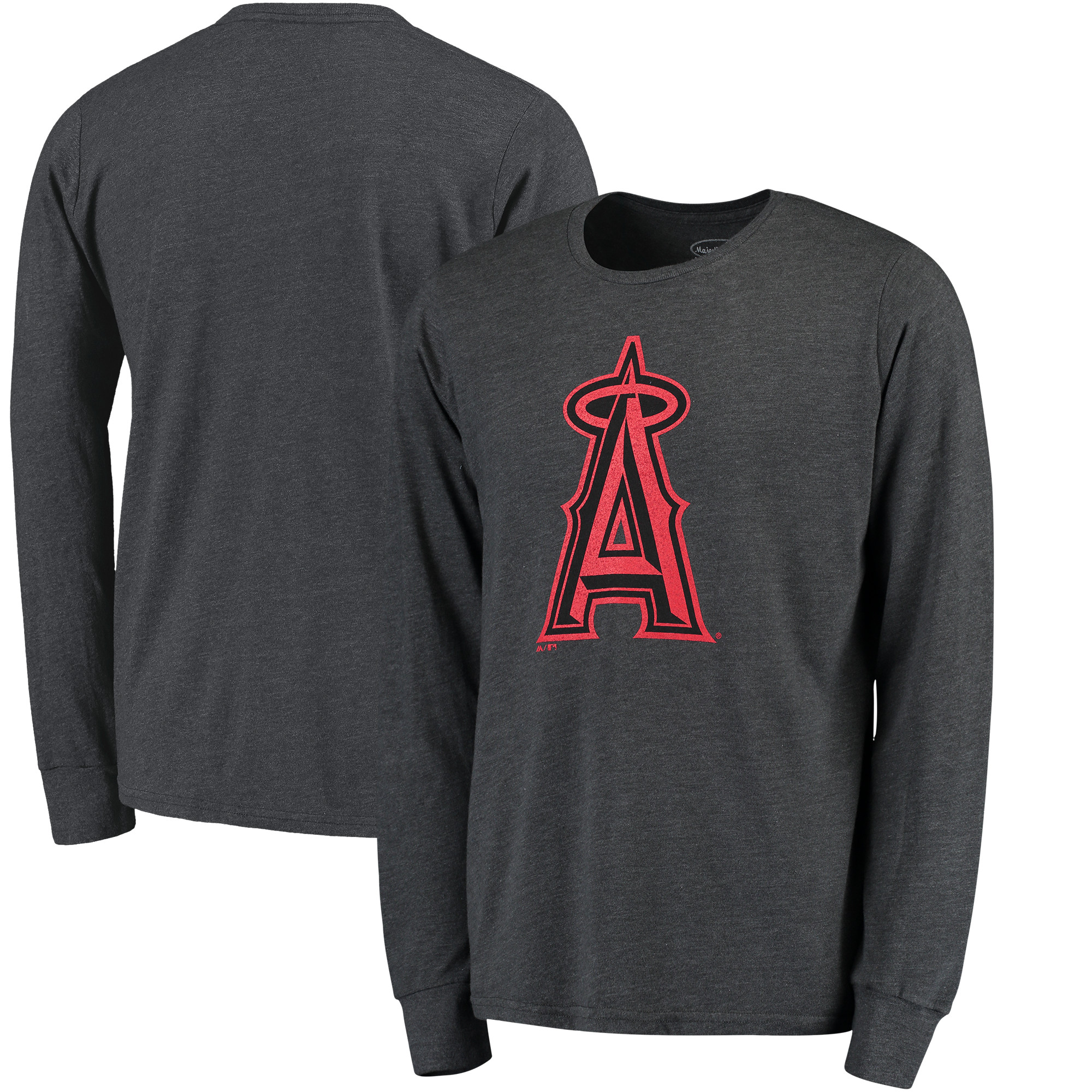 Los Angeles Angels Majestic Threads Tri-Blend Long Sleeve T-Shirt - Graphite