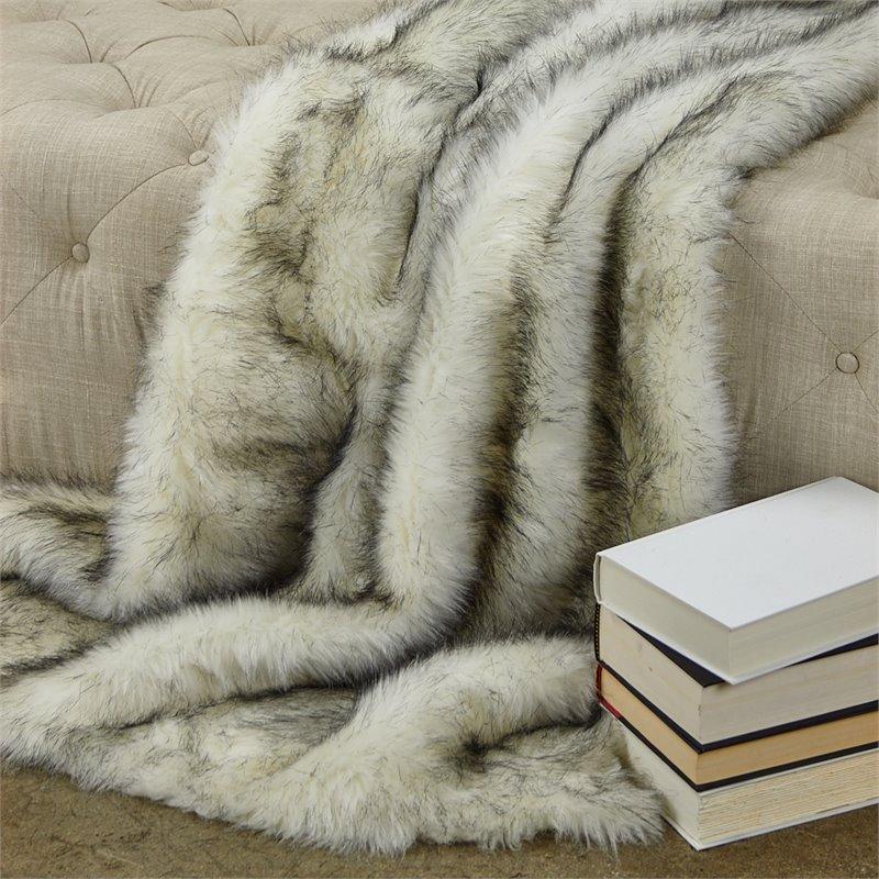 "Plutus Polar Bear Faux Fur Luxury Throw 60""W x 36""L"
