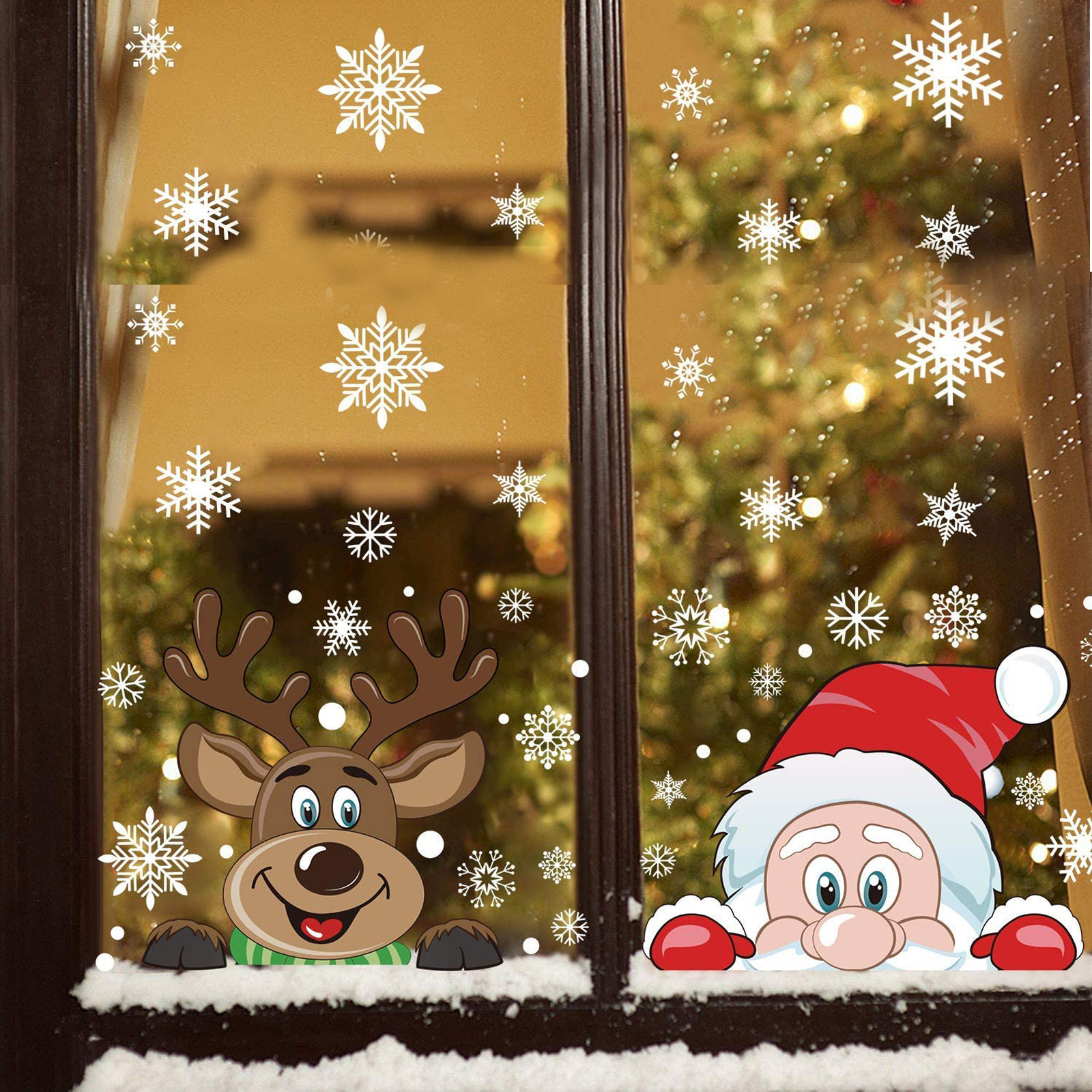 Christmas Window Decals Santa Elk Snowflake Glass Wall Removable Sticker XMAS CA