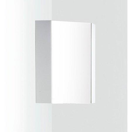 Fresca FMC5082WH Coda 14-in. White Corner Medicine Cabinet with Mirror (Mirror Door Medicine Cabinet)
