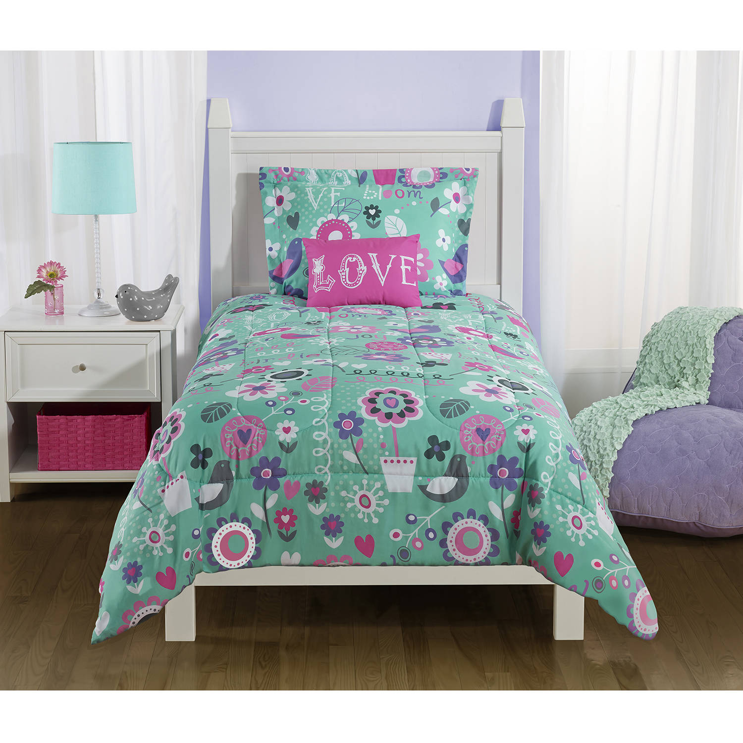 Mainstays Kids Spring Birds Bedding Comforter Set