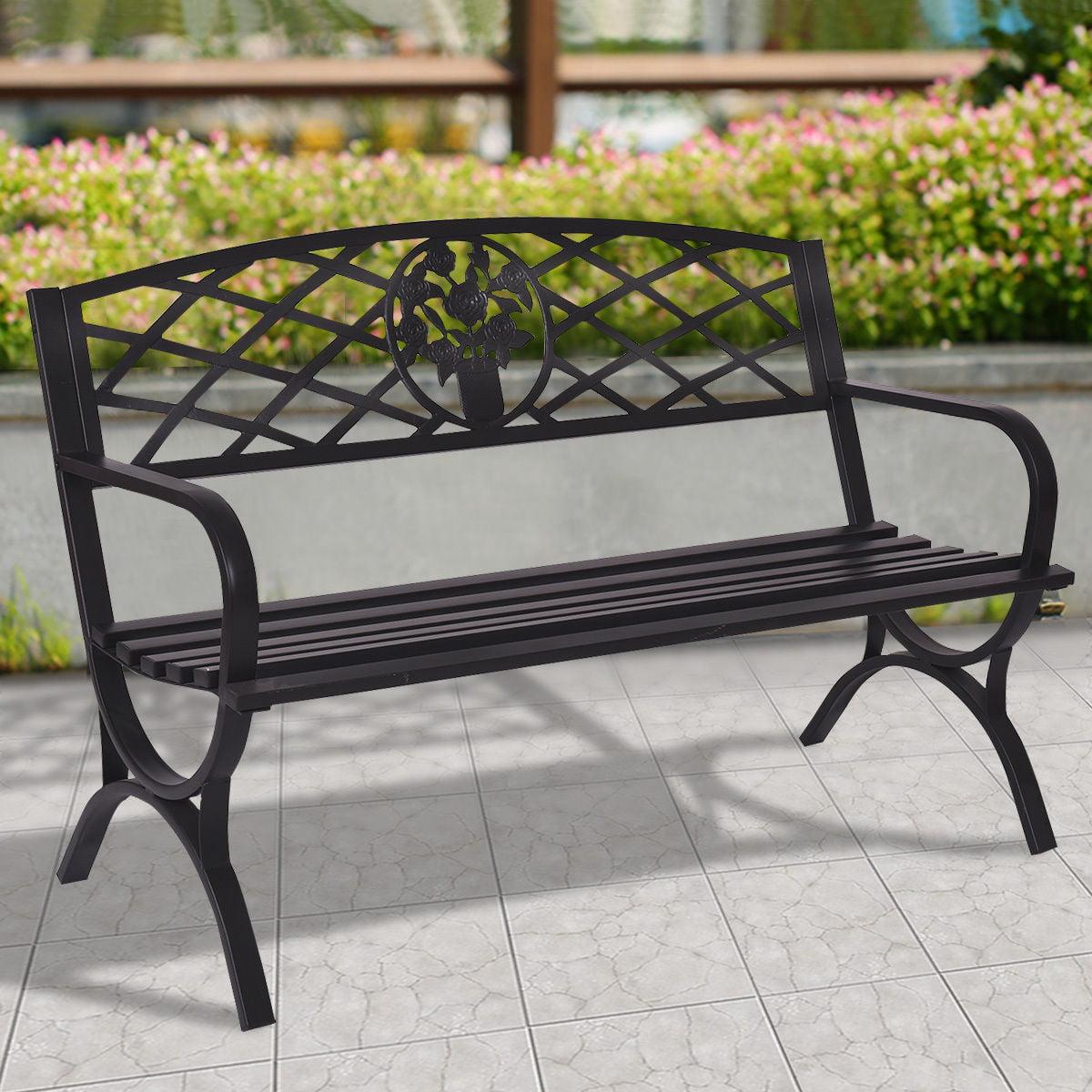 Costway 50'' Patio Garden Bench Park Yard Outdoor Furniture Steel Frame Porch Chair Seat by Costway