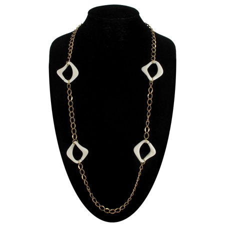 "New Gold Tone 34"" Long White Plastic Chunky Chain Link Necklace"