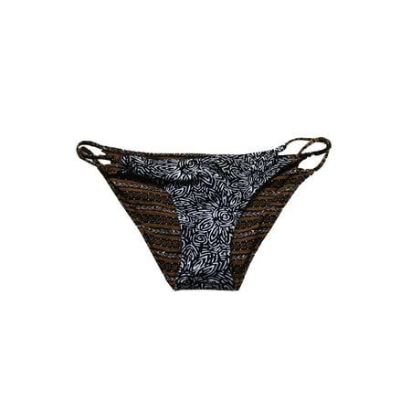 Volcom Juniors Brown Black Henna Spirit Reversible Strappy Bikini Bottom XS (Brown Bottoms)