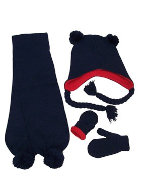 NICE CAPS Little Boys and Toddler Warm Fleece Lined Knitted 3 Piece Hat/Scarf/Mitten Winter Headwear Headwear Accessory set with Poms - Fits Children Kids Sizes for Cold Weather