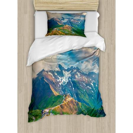 Mountain Twin Size Duvet Cover Set, Grossglockner High Alpine Road in Austria European Landscape Wanderlust Theme, Decorative 2 Piece Bedding Set with 1 Pillow Sham, Multicolor, by Ambesonne
