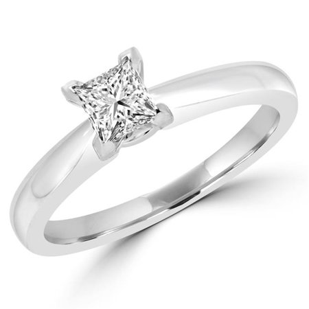 Majesty Diamonds MD180054-4.25 0.5 CT Princess Diamond Solitaire Engagement Ring in 14K White Gold - Size 4.25 - image 1 of 1
