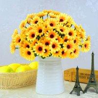 AkoaDa 2PCS Artificial Yellow Sunflower  Silk Sunflower Fabric Artificial Flowers for Wedding Decoration Bridal Bouquet DIY Handicrafts