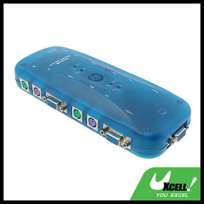 Plastic 4 Ports KVM Switch Keyboard Video Mouse Switchboard Clear Blue