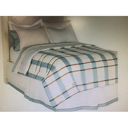 Thom Filicia Ivory Exploded Plaid 8 Piece Bed Ensemble, King Size