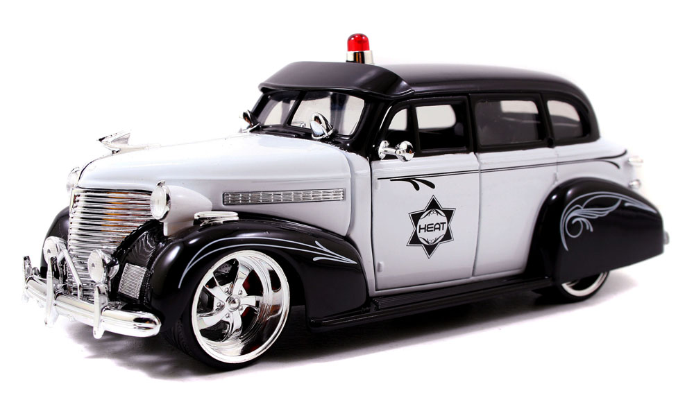 1939 Chevy Master Deluxe Police Car, White & Black Jada Toys Heat 96392 1 24 scale Diecast... by Jada