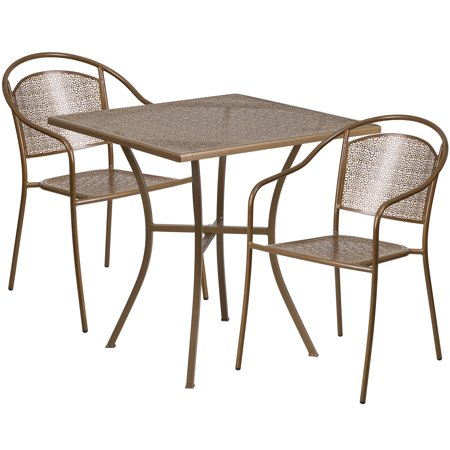 Flash Furniture 28 Square Indoor Outdoor Steel Patio Table Set With 2 Round Back Chairs Multiple Colors