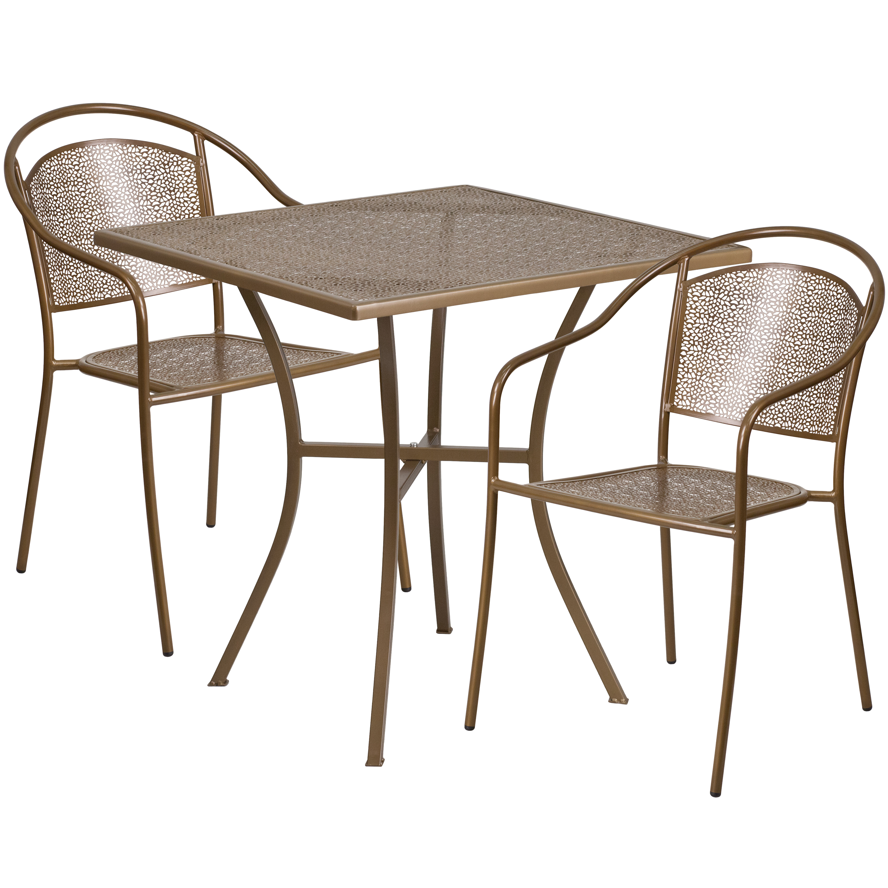 "Flash Furniture 28"" Square Indoor-Outdoor Steel Patio Table Set with 2 Round Back Chairs, Multiple Colors"