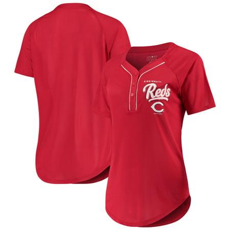 Women's New Era Red Cincinnati Reds Henley Mesh Jersey T-Shirt