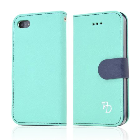 Rs Fancy Mint  Navy Faux Leather Diary Flip Hard Case W  Id Slots   Wrist Strap For Apple Iphone 5 5S