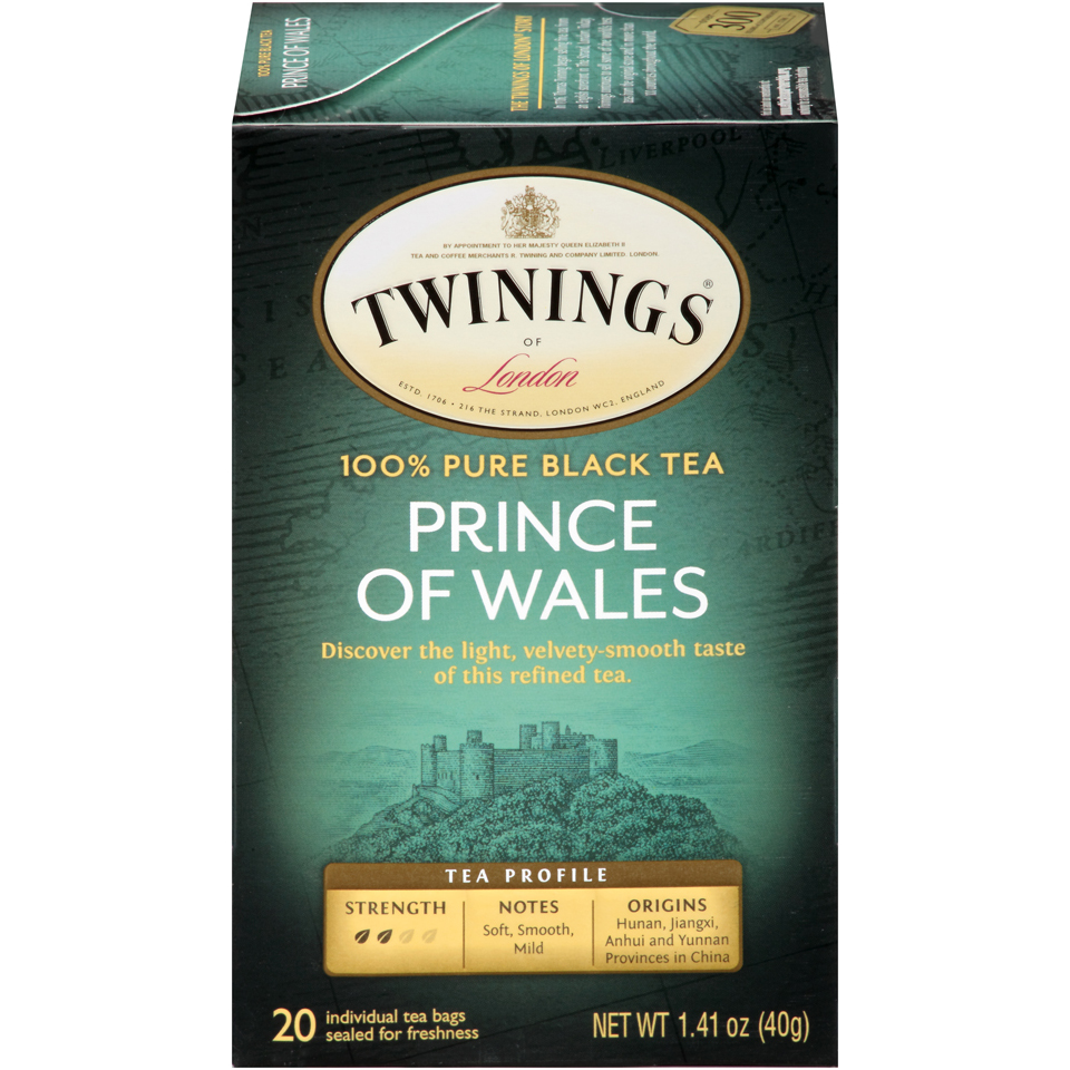Twinings of London Prince of Wales Black Tea Bags, 20 Count, Pack of 6