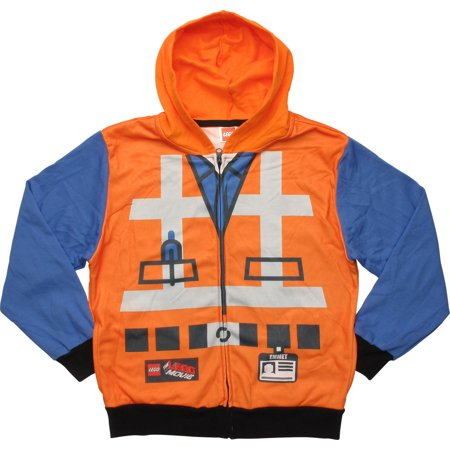 Lego Movie Emmet Costume Zip Youth Hoodie](Minecraft Zip Up Hoodie Youth)