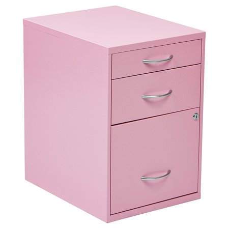 3 Drawer Vertical Metal Lockable Filing Cabinet, Pink ...