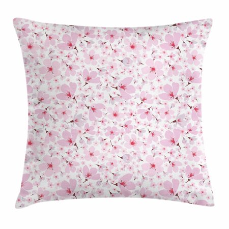 Pink and White Throw Pillow Cushion Cover, Symbolic Japanese Flowering Cherry Blossom in Random Arrangement, Decorative Square Accent Pillow Case, 16 X 16 Inches, Rose Burgundy Hot Pink, by (Couristan Burgundy Cherry Blossom)