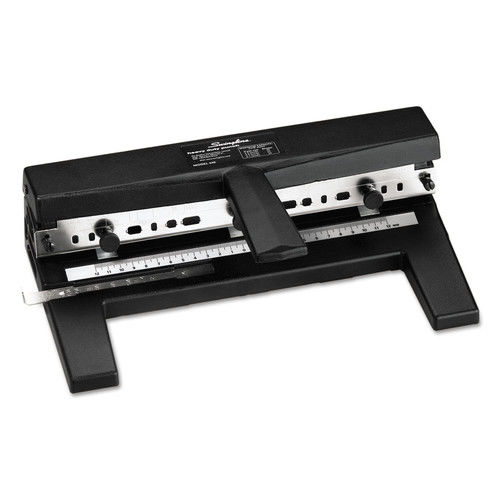 "Swingline SWI74440E 40-Sheet Heavy-Duty Two-To-Seven-Hole Adjustable Punch, 9/32"" Holes, Black"
