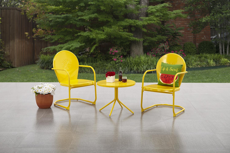 yellow patio furniture. Mainstays Retro C-Spring 3-piece Metal Outdoor Bistro - Yellow Yellow Patio Furniture