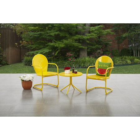 Mainstays Retro C Spring 3 Piece Metal Outdoor Bistro Yellow