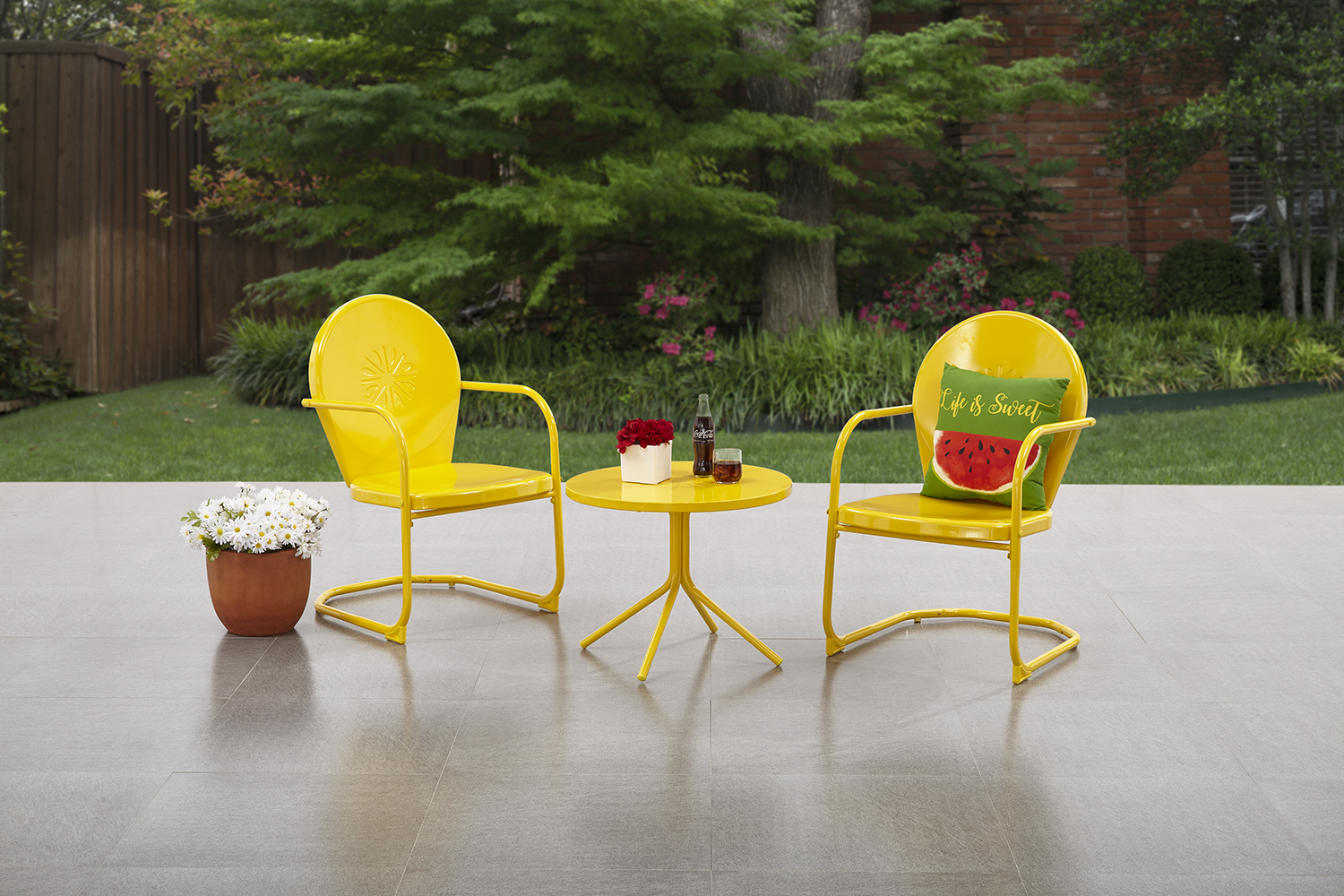 Ordinaire Mainstays Retro C Spring 3 Piece Metal Outdoor Bistro ...