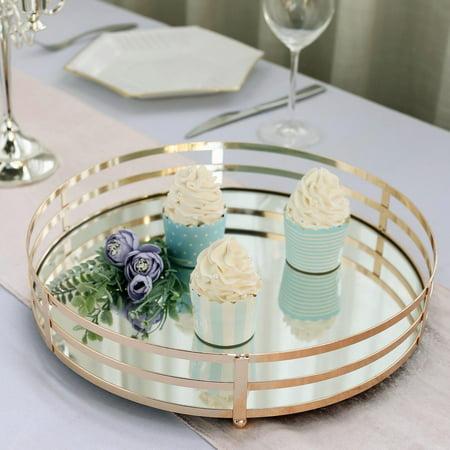Efavormart Set of 2 Gold Metal Decorative Serving Trays Round Mirror Trays - 13.5