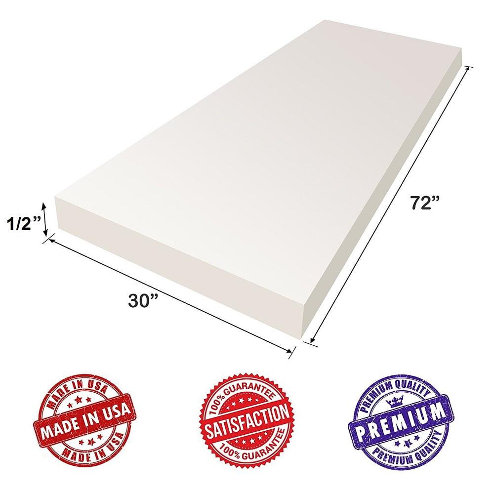 "1/""Hx22W/""x22L/"" Upholstery Visco Memory Foam Square Sheet 2.5 lb Regular..."
