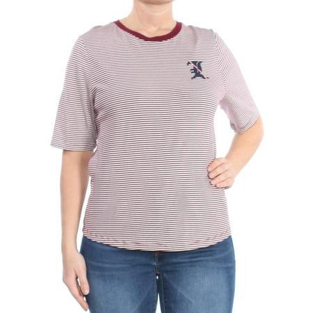RALPH LAUREN Womens Maroon Striped Embellished T Shirt Short Sleeve Crew Neck Top Size L