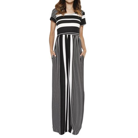 Short Sleeved Stripe Print Women Long Party Maxi Dress - Striped Maxi Dress